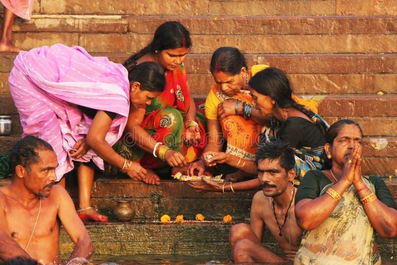 Hindu Pilgrims doing rituals at Varanasi,India royalty free stock photography