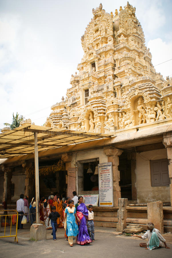 Hindu pilgrims in front of temple stock photo