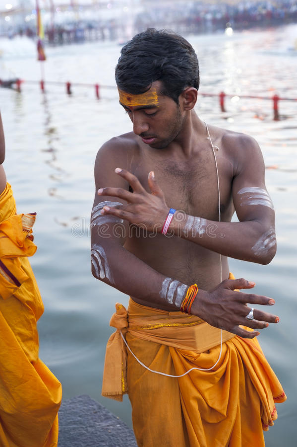Hindu Priest Body Painting stock photography