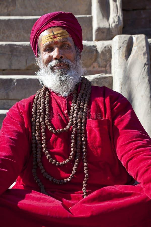 Hindu Priest, Patan, Nepal stock image