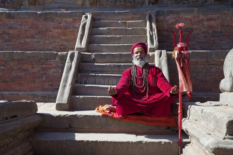 Hindu Priest, Patan, Nepal stock photo