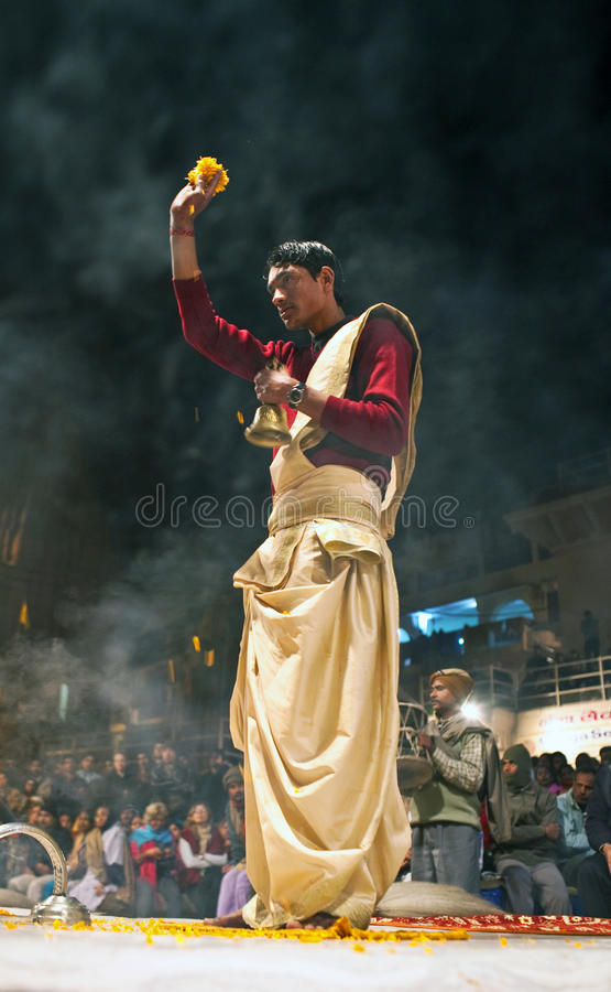 Download Hindu Priest During Religious Ganga Aarti Ceremony Editorial Stock Image - Image: 19693954