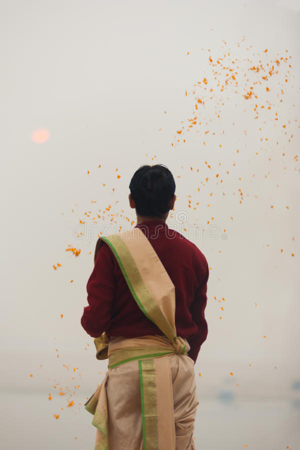 Hindu Priest Throw Garlands Ganges River Varanasi royalty free stock photography