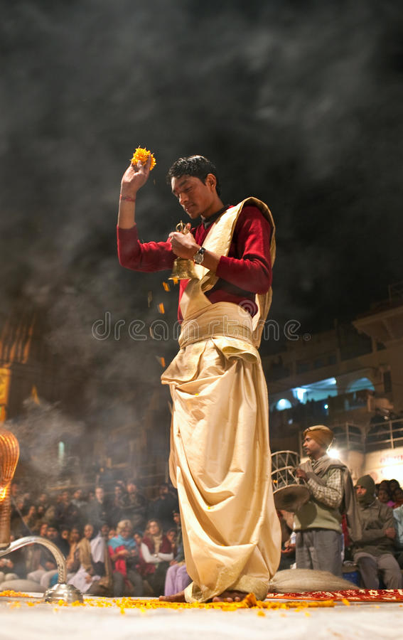 Hindu priest in Varanasi, India stock photos
