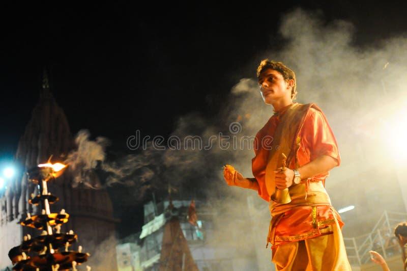 Hindu priest.Varanasi India. stock photography