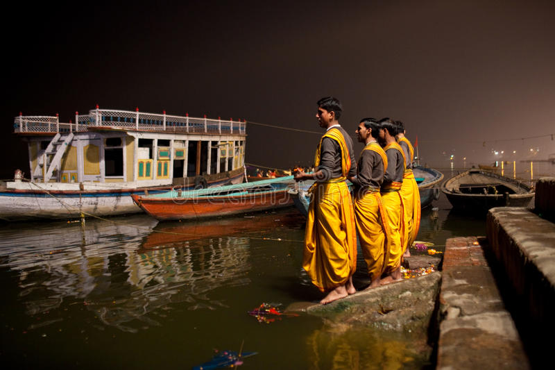Hindu priests during Ganga Aarti ceremony stock photo