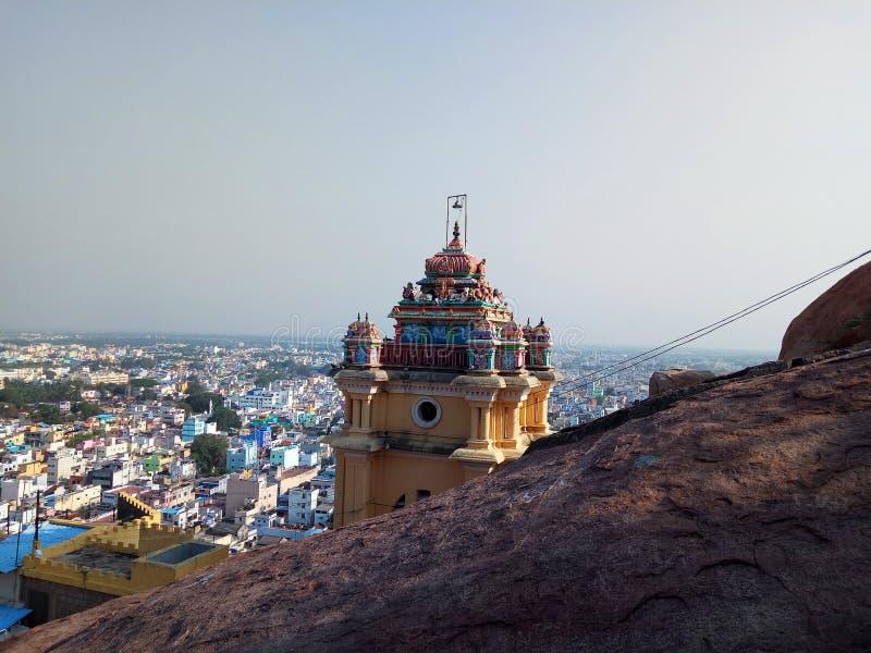 Hindu religion temple in mountain top gopuram with vinayagar god stock photography
