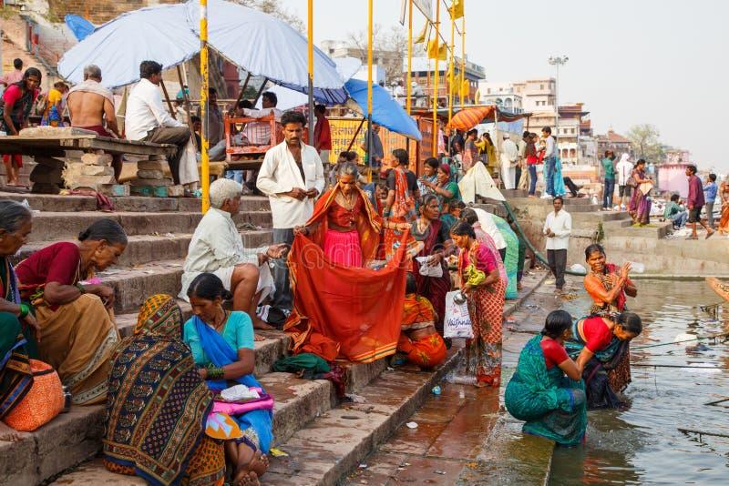 Hindu religious rituals in the river Ganges in Varanasi stock photos