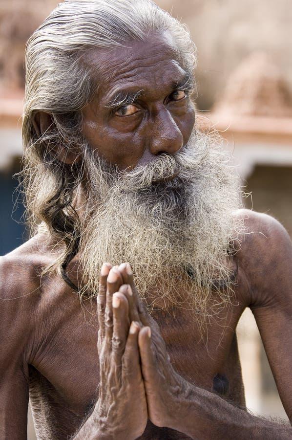 Hindu Sadhu (holy man) - India. Hindu Sadhu (holy man) in Karakudi in the Chettinad region of Tamil Nadu in southern India stock photo
