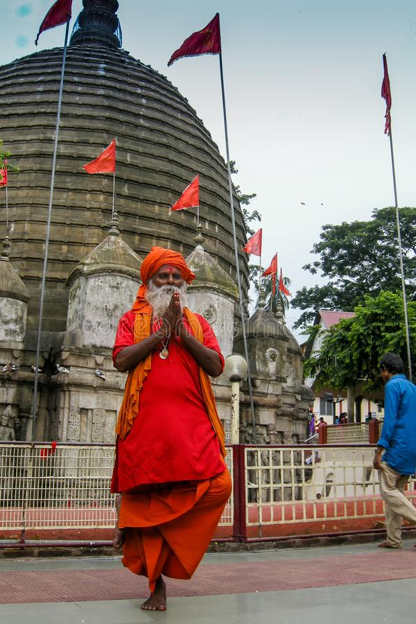 Hindu Sadhu no templo de Kamakhya, Guwahati, Assam imagens de stock