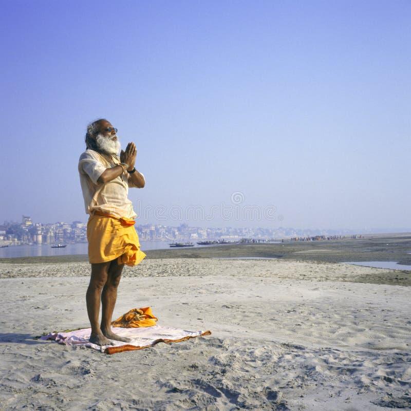 Varanasi, India Hindu Sadhu in yoga pose stock image