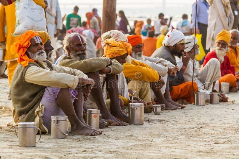 Hindu Sadhus beim Kumbha Mela, Indien lizenzfreie stockfotos