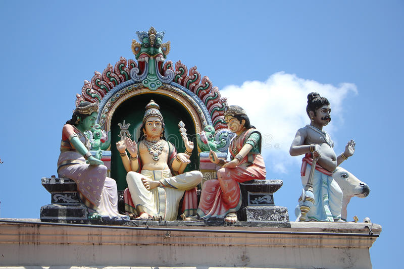 Hindu Sculpture at Sri Mariamman Temple stock images