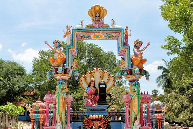 Hindu shrine at island temple, Sri Lanka stock photo