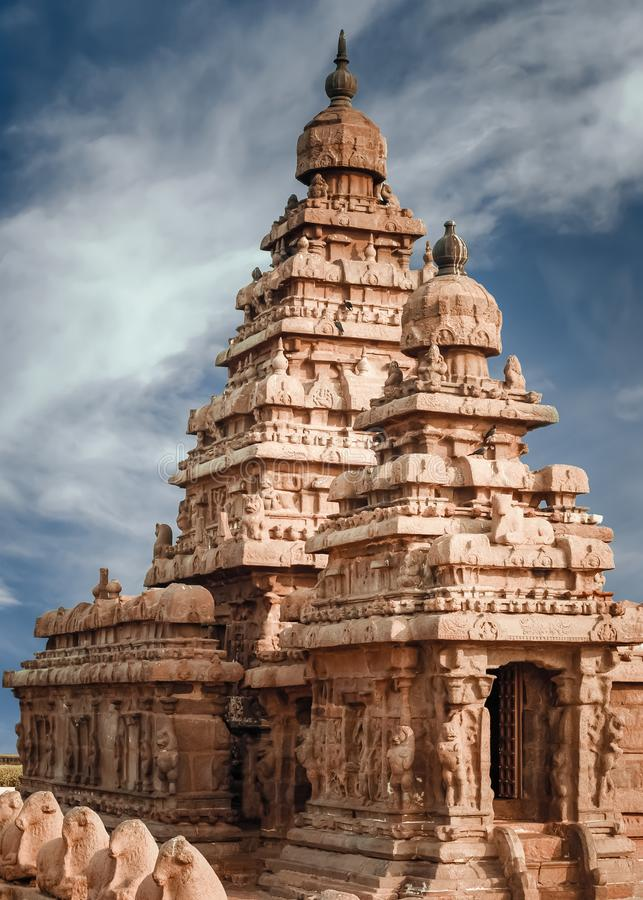 Hindu shrine Shore temple, World wonder in Tamil Nadu. India. Famous Hindu shrine Shore temple, World wonder and ancient heritage site in Mahabalipuram, Tamil royalty free stock photos