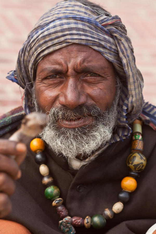 Hindu street serpent-charmer with cobra royalty free stock photography