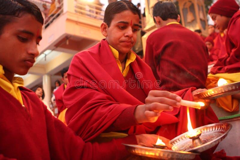 Hindu students in Rishikesh stock photos