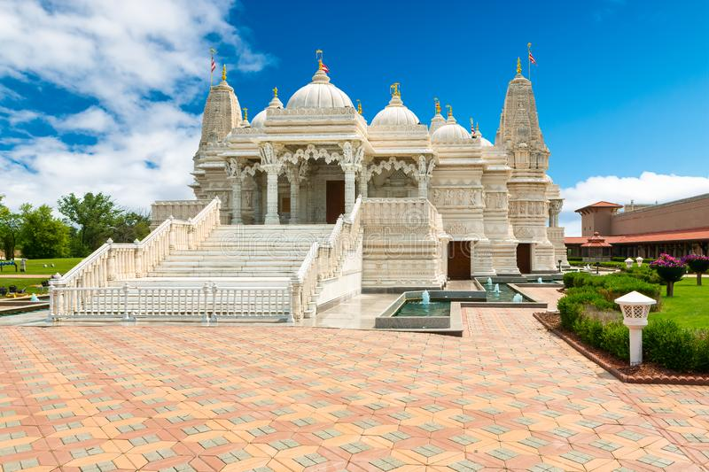 Hindu Swaminarayan BAPS Temple in Chicago, USA. Magnificent Hindu Swaminarayan, a sect of Hinduism, BAPS Temple in Chicago, USA royalty free stock photo