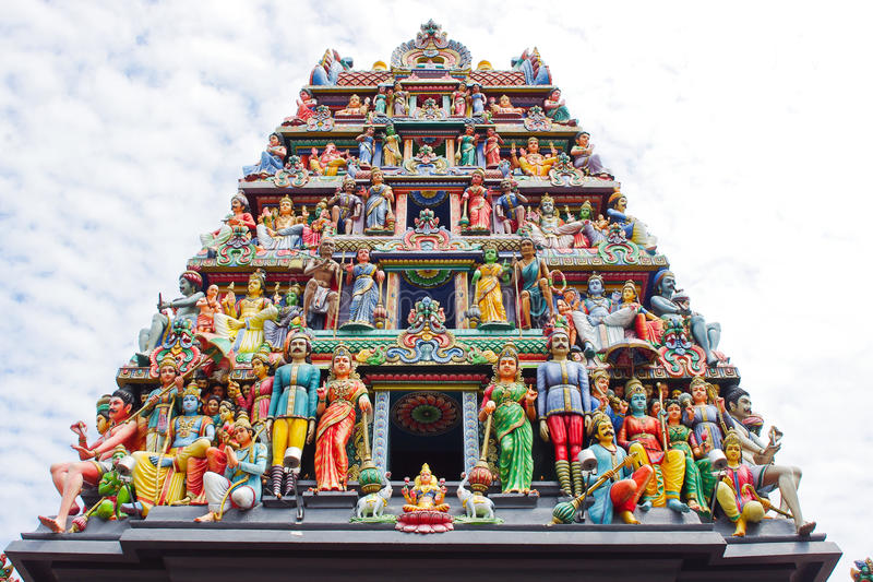 Hindu temple. Details of the decorations on the roof of the Sri Mariamman Hindu temple, Singapore stock photos