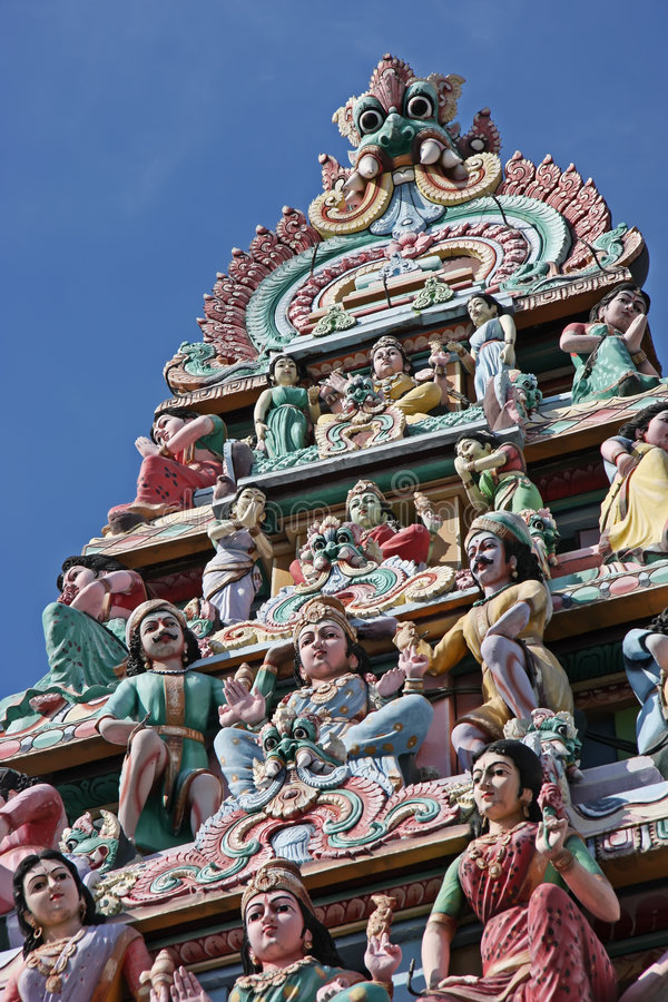 Hindu temple. Ornate statues in indian temple depicting hindu gods royalty free stock images