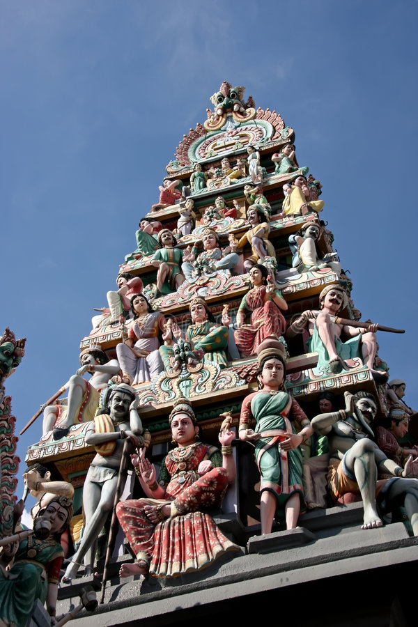 Hindu temple. Ornate statues in indian temple depicting hindu gods stock photography
