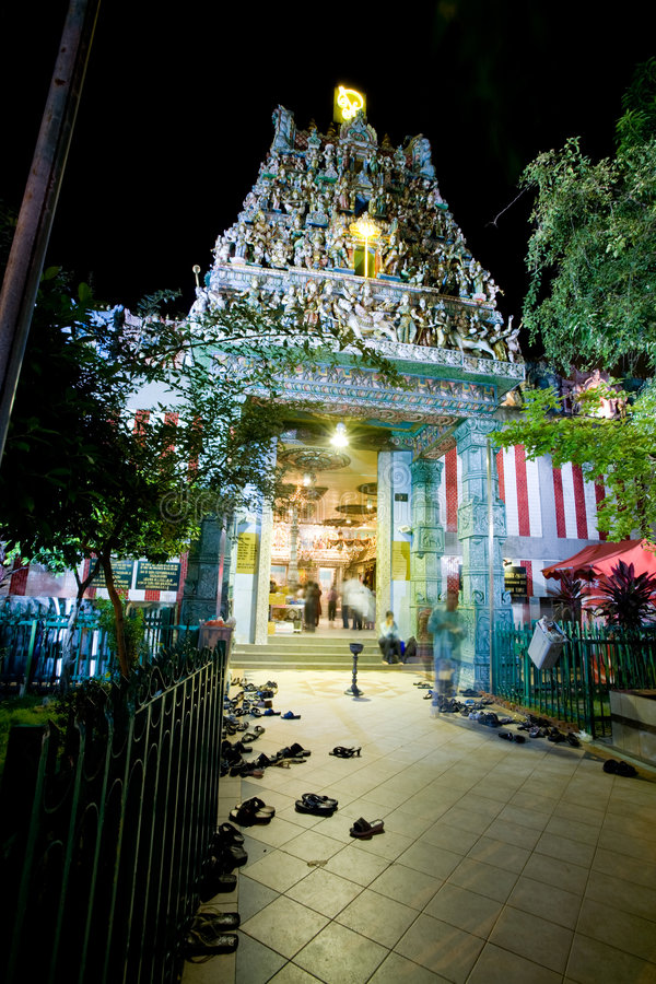 Hindu Temple. A night shot of a hindu temple in Singapore royalty free stock photography