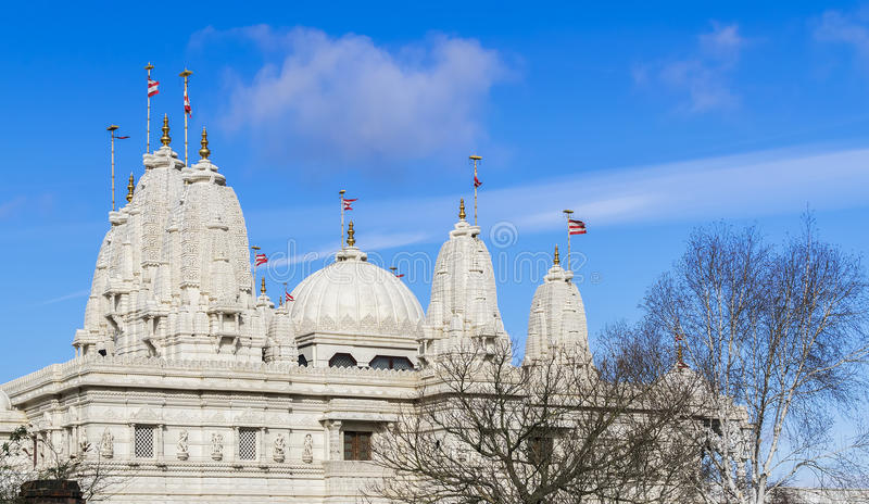 Hindu temple BAPS Shri Swaminarayan Mandir in London, United Kin. Beautiful hindu temple BAPS Shri Swaminarayan Mandir in London, United Kingdom royalty free stock photos