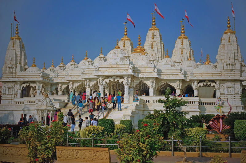 Hindu temple at Bhuj in Gujarat, India. BHUJ, INDIA - NOVEMBER 5, 2016: The Shri Swaminarayan Hindu temple which was built at great expense to replace the royalty free stock photos
