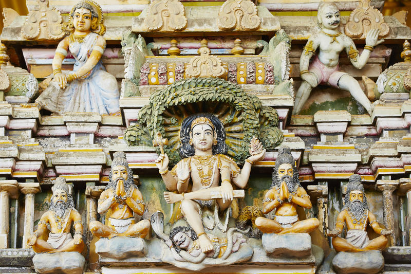 Hindu Temple. Close up view on sculpture of Hindu Temple in Trincomalee, Sri Lanka stock photos