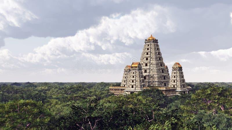 Hindu temple. Computer generated 3D illustration with a Hindu temple royalty free illustration