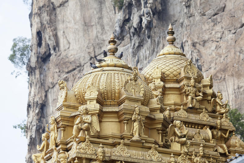 Hindu Temple Dome Detail. Sri Subramaniar Hindu Temple Dome Detail at Batu Caves in Malaysia stock images