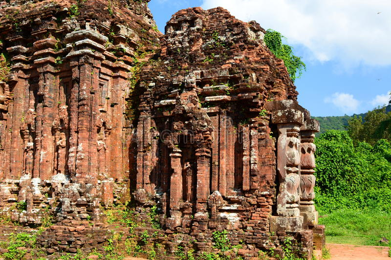 Hindu temple. My Son. Quảng Nam Province. Vietnam. My Son is a cluster of abandoned and partially ruined Hindu temples constructed between the 4th and the royalty free stock photos