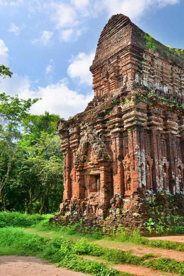Hindu temple. My Son. Quảng Nam Province. Vietnam. My Son is a cluster of abandoned and partially ruined Hindu temples constructed between the 4th and the royalty free stock photography