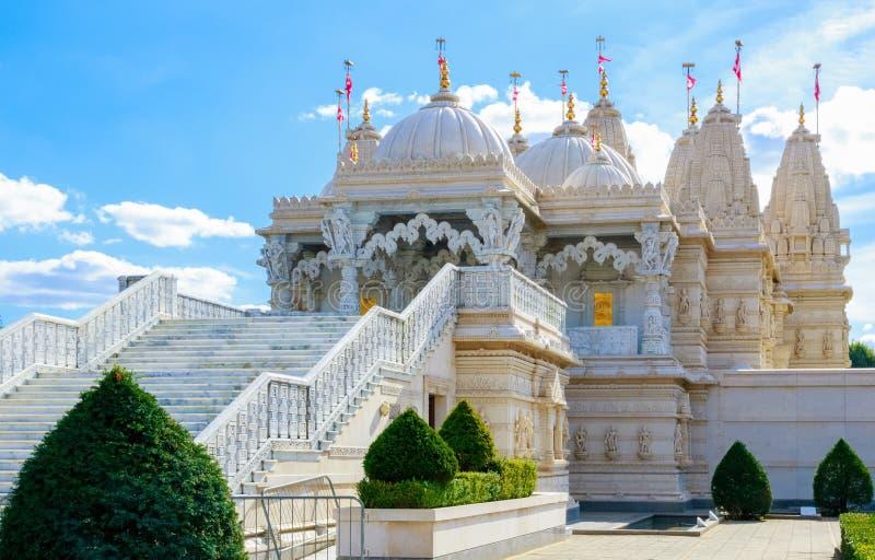 Hindu Temple in Neasden London. Exterior of the Hindu temple, BAPS Shri Swaminarayan Mandir, in Neasden, London stock photography