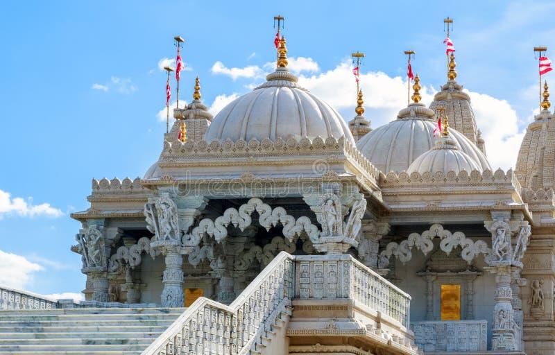 Hindu Temple in Neasden London. Exterior of the Hindu temple, BAPS Shri Swaminarayan Mandir, in Neasden, London stock image