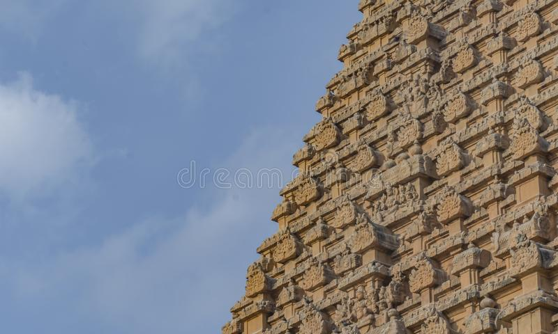 Hindu Temple - Partial Architecture - on Blue Sky background. Brihadishvara Temple or the Peruvudaiyar Koyil or the Big Temple is a Hindu temple dedicated to royalty free stock photos