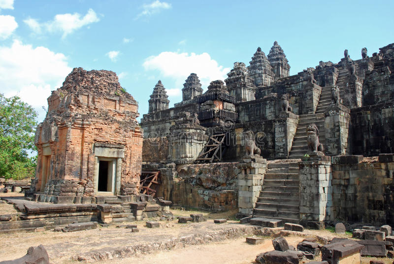 Hindu Temple Phnom Bakheng, Angkor, Cambodia. The Hindu Temple Phnom Bakheng in the form of a temple mountain, Angkor, Siem Reap, Cambodia stock images