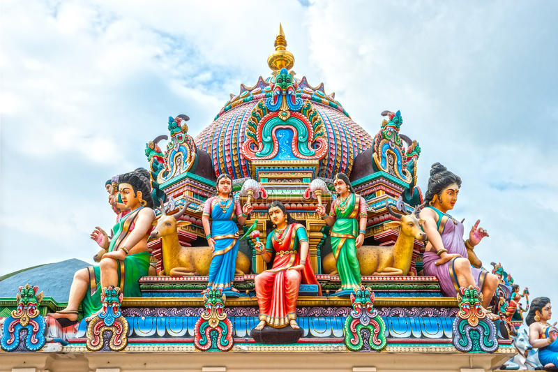 Hindu temple in Singapore. Details of Hindu Temple in Singapore stock photography