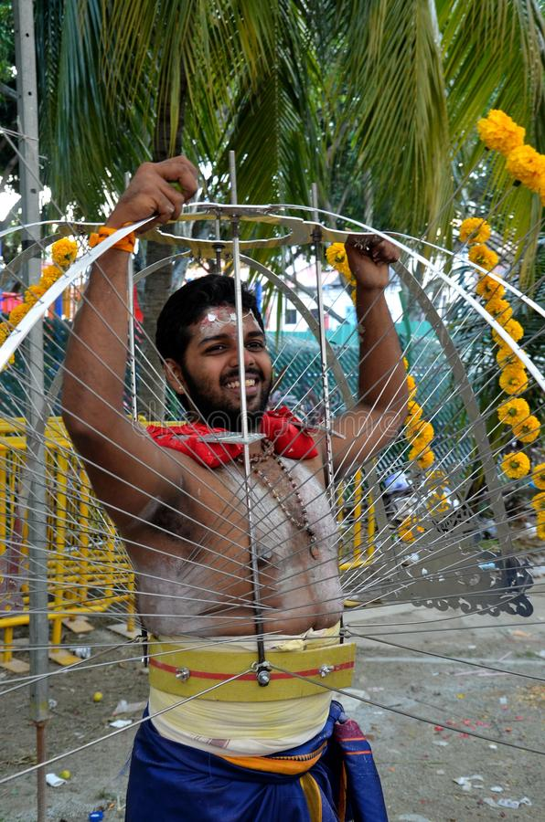 Hindu Thaipusam festival: pierced devotee in Singapore royalty free stock images