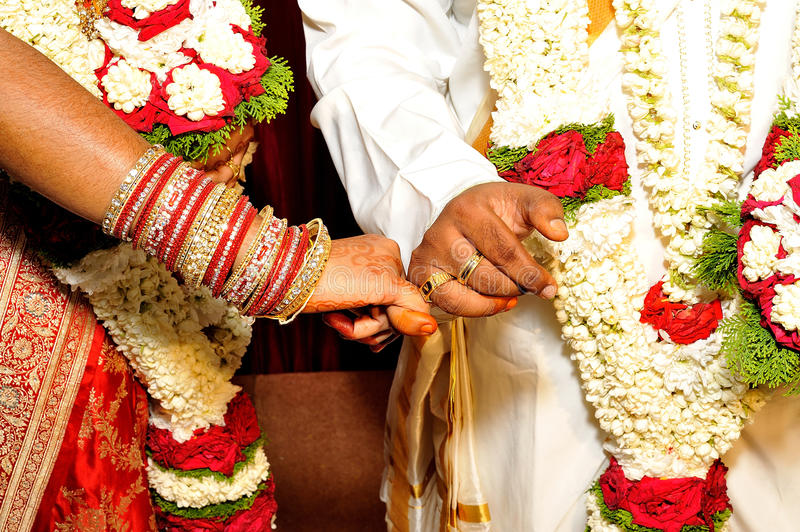 Hindu Wedding. A Hindu wedding is Vivaha or Kalyanam and the wedding ceremony is called vivaah sanskar in North India and Kalyanam or Madhuve in South India royalty free stock photo
