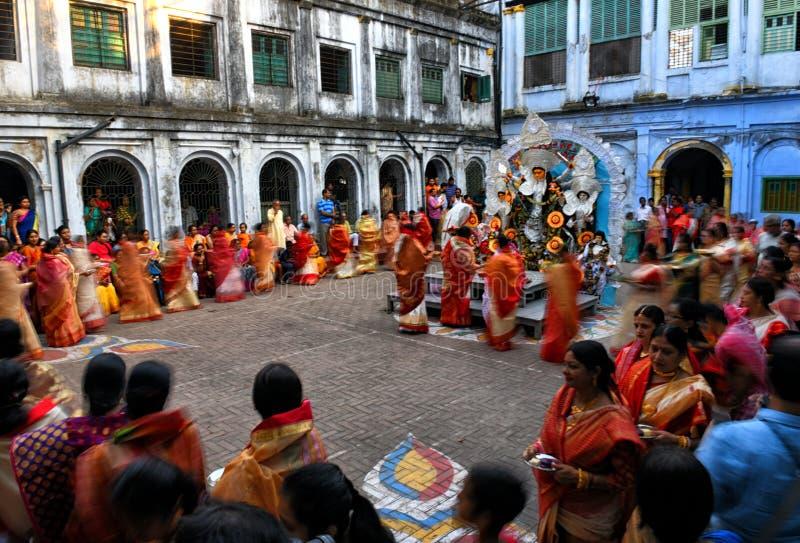 Hindu women dancing at Navratri festival royalty free stock photo