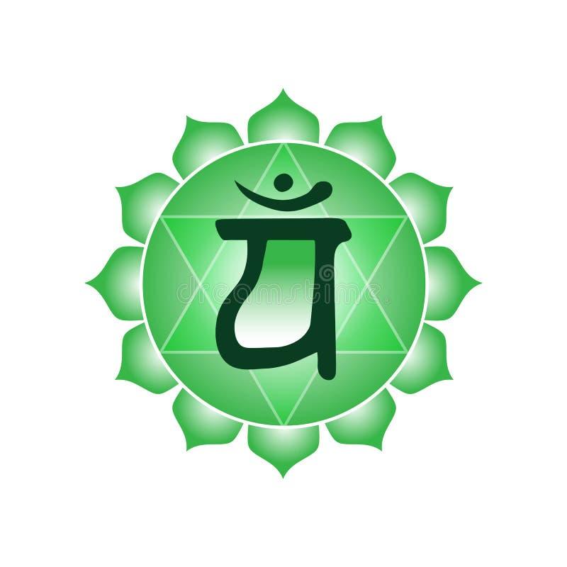 Hinduis indios del buddhism de la yoga esotérica del símbolo del icono del chakra de Anahata stock de ilustración
