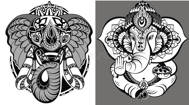 hinduisk elefant Lord Ganesha vektor illustrationer