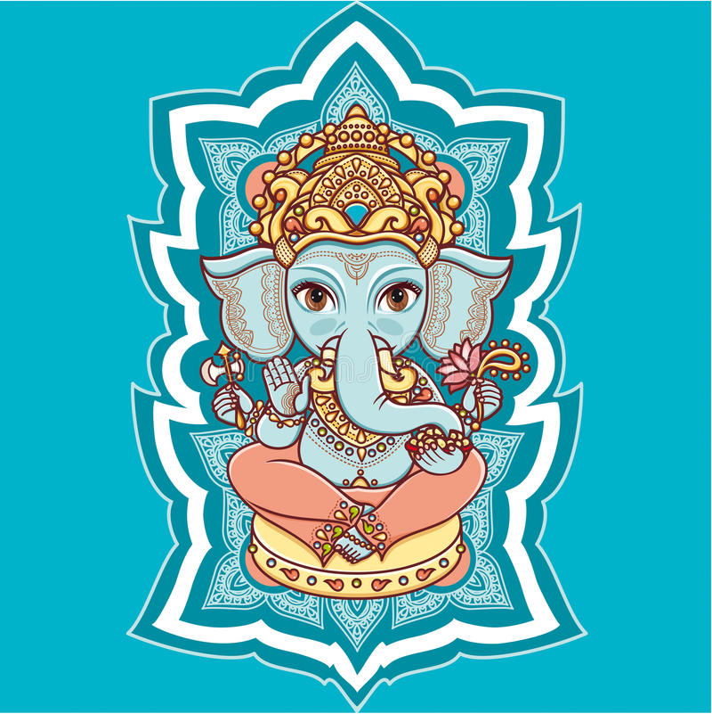 Hinduisk elefantgud Lord Ganesh hinduism royaltyfri illustrationer
