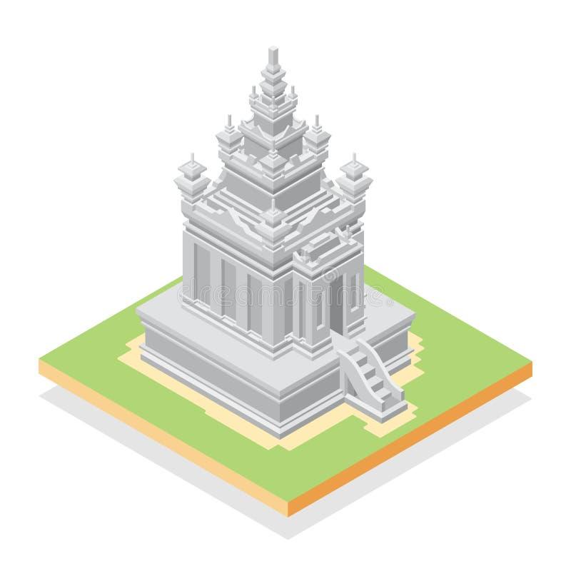 Hinduisk forntida tempel i isometrisk design royaltyfri illustrationer