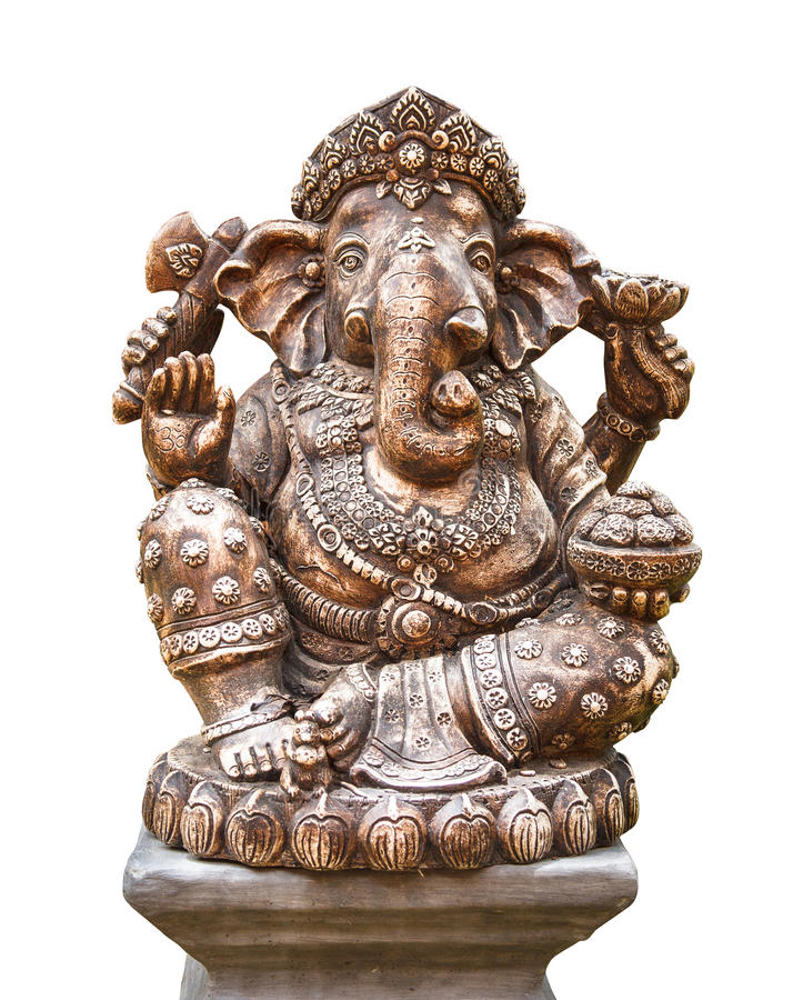 Hinduisk gud Ganesh som isoleras på vit arkivfoto