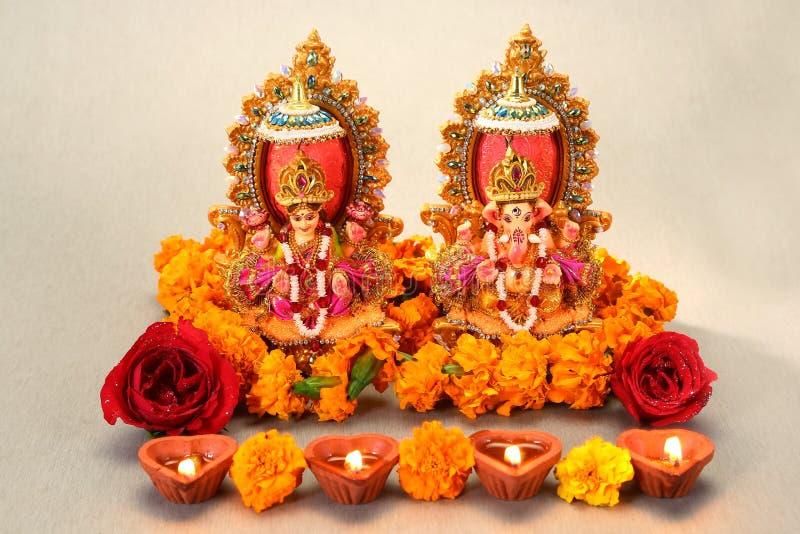 Hinduisk gud Laxmi Ganesh arkivbilder