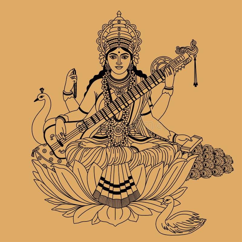 Hinduisk gudinna vektor illustrationer