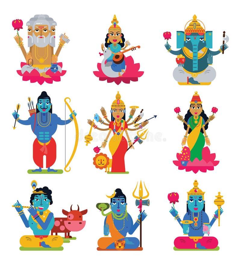 Hinduisk gudomlighet för indisk gudvektor av gudinnateckenet och gudalik förebild Ganesha för hinduism i Indien illustrationuppsä royaltyfri illustrationer