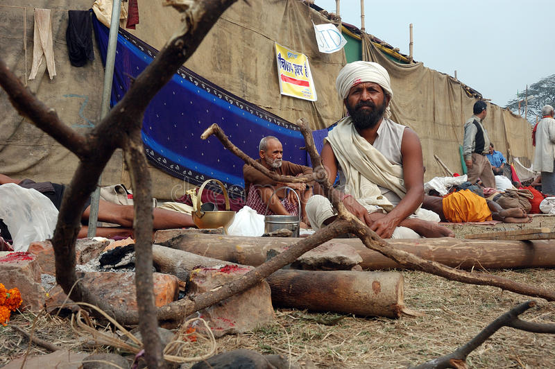 hinduisk india sadhu arkivbilder